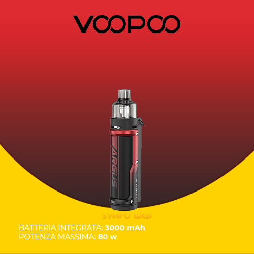 Sigaretta Elettronica VOOPOO Argus Pro 3000mAh 80w Litchi Leather & Red