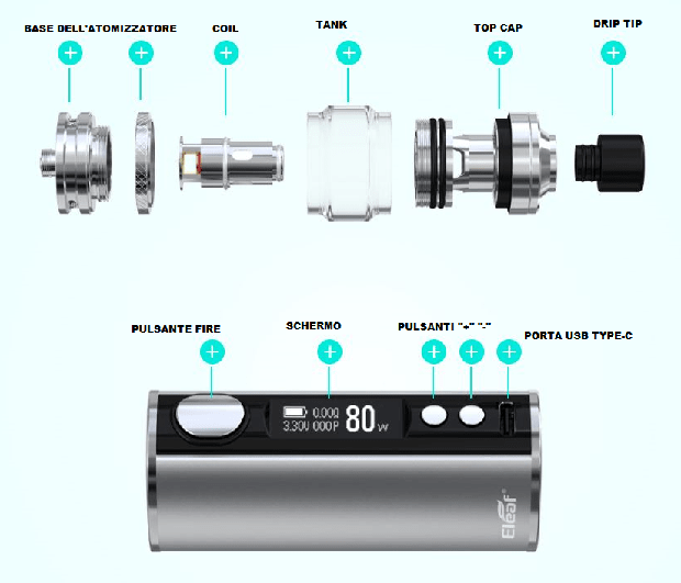 kit eleaf istick t80 specifiche tecniche