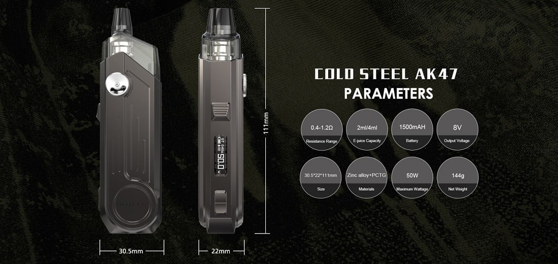 kit artery cold steel ak-47 1500mah 50w specifiche tecniche