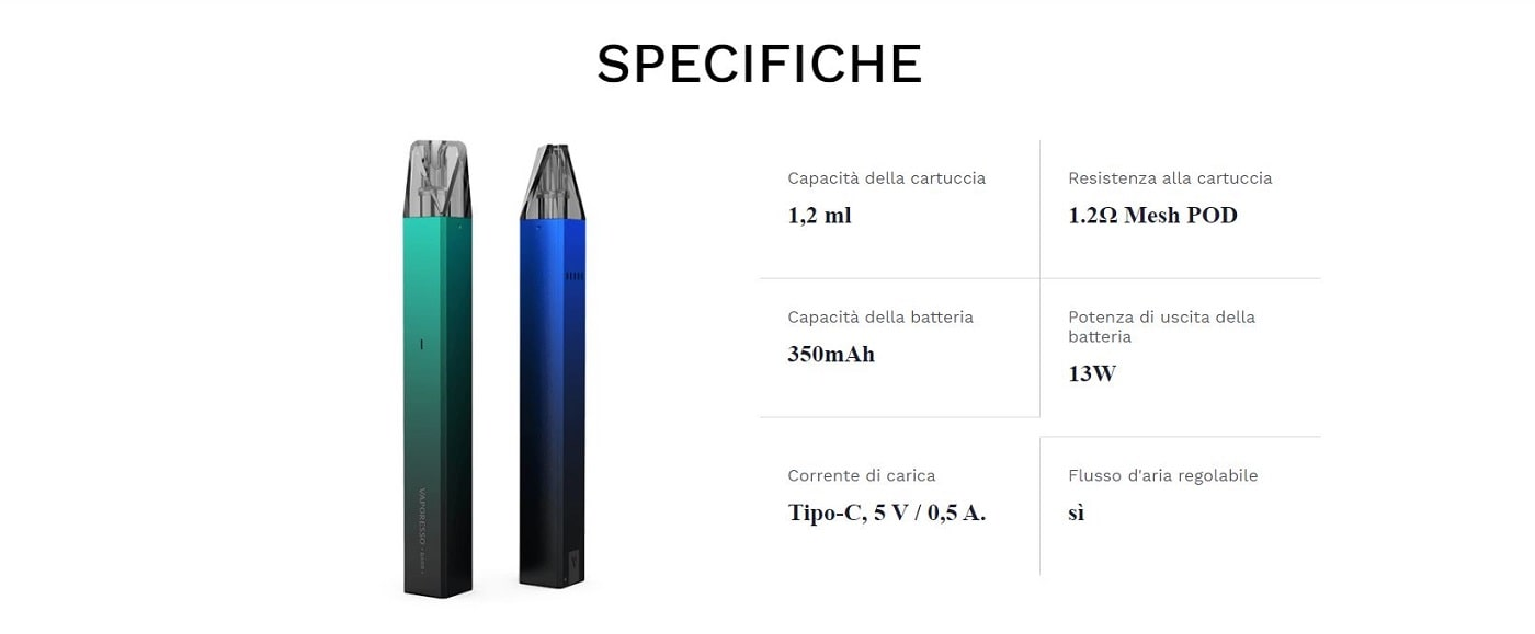 kit vaporesso barr 350mah specifiche tecniche