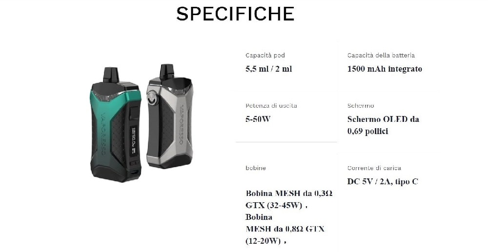 kit vaporesso xiron 50w 1500mah specifiche tecniche