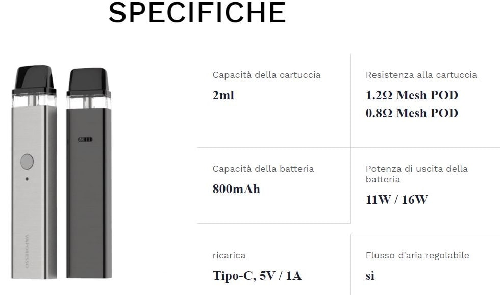 kit vaporesso xros 800mah specifiche tecniche