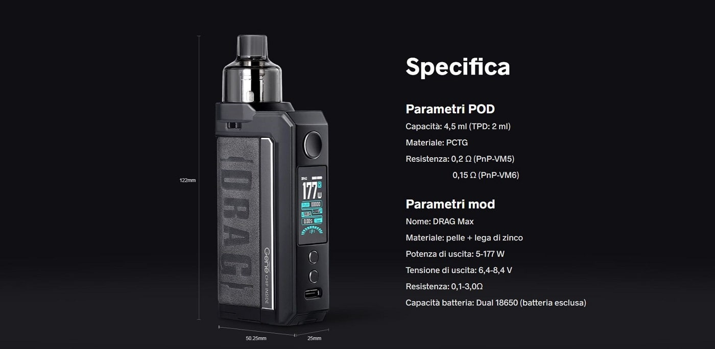 kit voopoo drag max 18650 177w specifiche tecniche