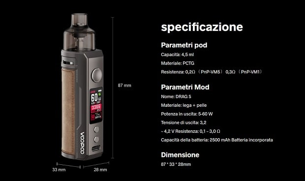 kit voopoo drag s 2500mah specifiche teciniche